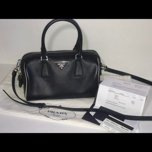 Authentic Prada saffiano mini micro Boston satchel